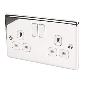 LAP 2-Gang 13A SP Switched Plug Socket Polished Chrome