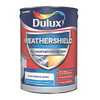 Dulux Weathershield Textured Masonry Paint Pure Brilliant White 5Ltr