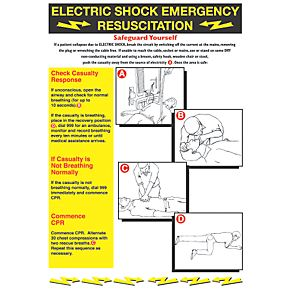 Quot Electric Shock Emergency Resuscitation Quot Safety Poster 600