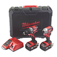 Milwaukee M18 CBLPP2A-502C 18V 5.0Ah Li-Ion RedLithium Brushless Cordless Combi Drill & Impact Driver Twin Pack