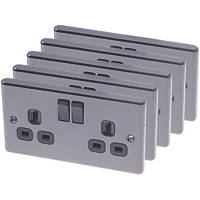 LAP  13A 2-Gang SP Switched Plug Socket Black Nickel  with Black Inserts 5 Pack