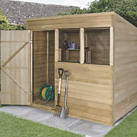Forest 7' x 5' (Nominal) Pent Overlap Timber Shed with Assembly