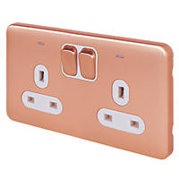 Schneider Electric Lisse Deco 13A 2-Gang DP Switched Socket Copper with LED with White Inserts
