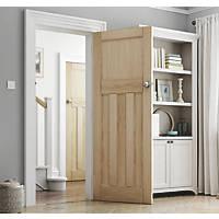 Jeld-Wen Deco Unfinished Oak Veneer Wooden 3-Panel Internal Door 1981 x 838mm