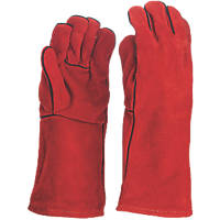 Site KF370 Leather MIG Welders Gauntlets Red Large