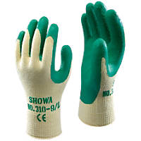 Showa 310G Latex Grip Gloves Green Medium