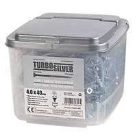 Turbo Silver PZ Double-Countersunk Multipurpose Screws 4 x 40mm 1000 Pack