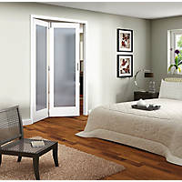 Jeld-Wen Room Fold 2-Door 1-Obscure Light Primed White Wooden 1-Panel Shaker Internal Bi-Fold Room Divider 2047 x 1319mm