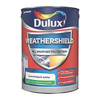 Dulux Weathershield Smooth Masonry Paint Pure Brilliant White 5Ltr