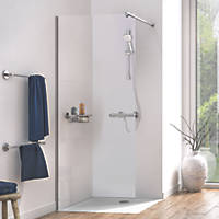 Aqualux Edge 8 Frameless Wetroom Glass Panel Polished Silver 1000 x 2000mm