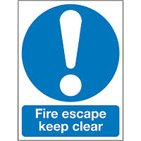 """""""Fire Escape Keep Clear"""" Sign 200 x 150mm"""