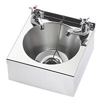 Franke Model A Wall-Hung Washbasin 2 Taps Stainless Steel 1 Bowl 290 x 290mm