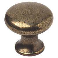 Decorative Round Cabinet Knobs Antique Brass 20mm 2 Pack