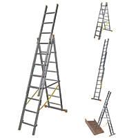 Werner  3-Section 4-Way Aluminium Combination Ladder  5.18m