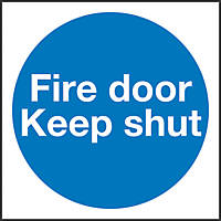 """Fire Door Keep Shut"" Sign 100 x 100mm"