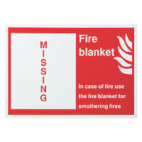 """Fire Blanket Missing"" Sign 350 x 250mm"