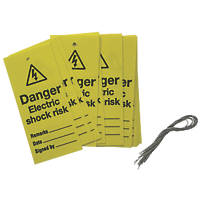 'Danger Electric Shock Risk' Safety Maintenance Tags 10 Pack