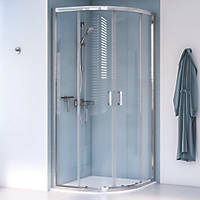 Aqualux Edge 8 Quadrant Shower Enclosure Reversible Left/Right Opening Polished Silver 800 x 800 x 2000mm
