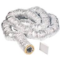 Manrose Aluminium Insulated Flexible Ducting Hose Silver 10m