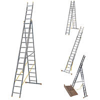Werner 3-Section 4-Way Aluminium Combination Ladder with Stair Function   9.61m