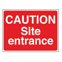 """Caution Site Entrance"" Sign & Stanchion Frame  450 x 600mm"