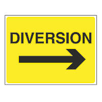 """""""Diversion"""" with Arrow Right Stanchion Sign 450 x 600mm"""