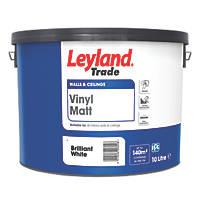 Leyland Trade Vinyl Matt Emulsion Paint Brilliant White 10Ltr