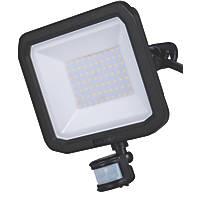 Luceco Slimline LED Floodlight With PIR Sensor Black 50W 5400lm
