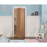 Jeld-Wen  Unfinished Oak Wooden Cottage Internal Bi-Fold Door 1950 x 595mm