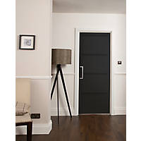 Jeld-Wen  Painted Black Wooden 4-Panel Shaker Internal Door 1981 x 610mm
