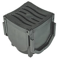 FloPlast FloDrain Corner Unit Black 118mm x 136mm