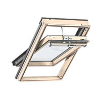 Velux CK04 Mains Electric Centre-Pivot Lacquered Natural Pine Integra Roof Window Clear 550 x 980mm