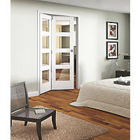 Jeld-Wen Room Fold 2-Door 4-Clear Light Primed White Wooden Shaker Internal Bi-Fold Room Divider 2047 x 1319mm
