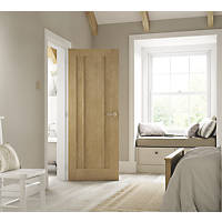 Jeld-Wen Worcester Unfinished Oak Veneer Wooden 3-Panel Internal Door 2040 x 726mm