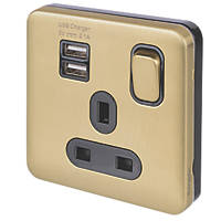 Schneider Electric Lisse Deco 13A 1-Gang SP Switched Socket + 2.1A 2-Outlet USB Charger Satin Brass with Black Inserts