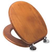 Croydex Davos Standard Closing Toilet Seat Pine Antique