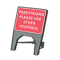 "Melba Swintex Q Sign Rectangular ""Pedestrian Please Use Other Footpath"" Traffic Sign 610 x 775mm"