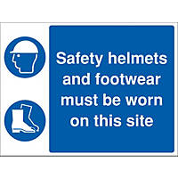 """""""Safety Helmets & Footwear Must Be Worn On This Site"""" Sign 450 x 600mm"""