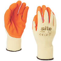 Site KF380 Latex Builders Gloves Orange/Yellow Small