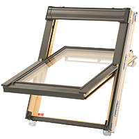 Keylite  T02 Manual Centre-Pivot Lacquered Timber Roof Window Clear 550 x 980mm