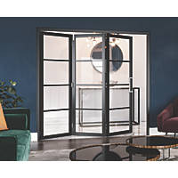 Jeld-Wen Room Fold 3-Door 3-Clear Light Painted Black Wooden Shaker Internal Bi-Fold Room Divider 2047 x 1929mm