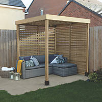 Forest  Pergola with 2 Side Infills Natural Timber 1970 x 1970 x 2045mm