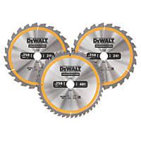 DeWalt Circular Saw Blade Set 250 x 30mm 24 / 48T 3 Pack