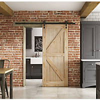 Jeld-Wen  Unfinished Mindi Oak Wooden Cottage Internal Sliding Barn Door 2073 x 862mm