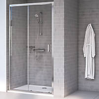 Aqualux Edge 8 Sliding Shower Door Polished Silver 1000 x 2000mm
