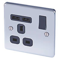 LAP  13A 1-Gang SP Switched Socket + 2.1A 2-Outlet USB Charger Polished Chrome with Black Inserts