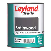 Leyland Trade Satinwood Paint Brilliant White 750ml