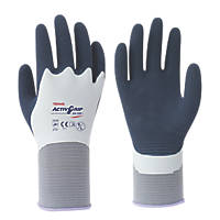 Towa ActivGrip XA-326 Latex Fully-Coated Gloves Blue/Grey Medium