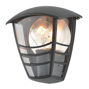 zinc perdita black half wall lantern 60w outdoor wall. Black Bedroom Furniture Sets. Home Design Ideas