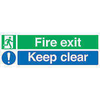 """Fire Exit Keep Clear"" Signs 150 x 450mm 100 Pack"